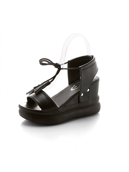 Black Leather Open Toe Platform Ankle Strap 9cm Wedges