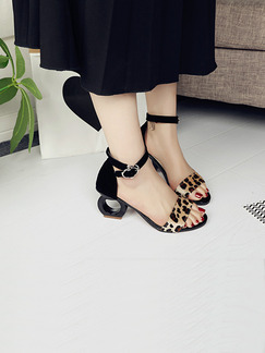 Black and Beige Suede Open Toe High Heel Ankle Strap 6cm Heels