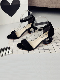 Black Suede Open Toe High Heel Ankle Strap 6cm Heels