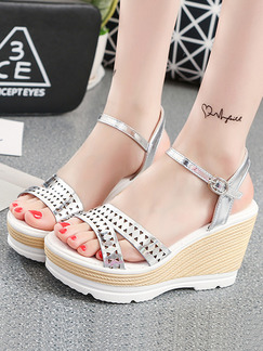 Silver White and Beige Leather Open Toe Platform Ankle Strap 9.5cm Wedges