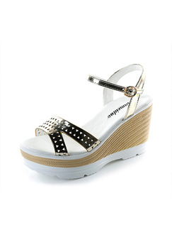 Gold White and Beige Leather Open Toe Platform Ankle Strap 9.5cm Wedges