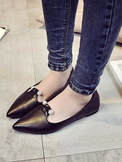 Black Leather Pointed Toe 1cm Flats