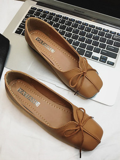 Beige Leather Round Toe Flats