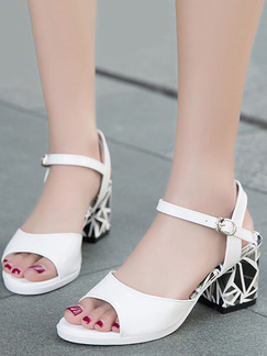 White and Black Leather Open Toe High Heel Chunky Heel Ankle Strap 6cm Heels