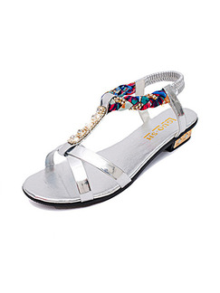 Silver Colorful Leather Open Toe Ankle Strap 1cm Sandals