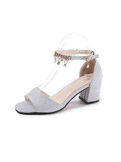 Silver Leather Open Toe High Heel Chunky Heel Ankle Strap 6cm Heels