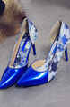 Blue and White Leather Pointed Toe High Heel Stiletto Heel Pumps 9cm Heels