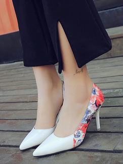 White Colorful Leather Pointed Toe High Heel Stiletto Heel Pumps 9cm Heels