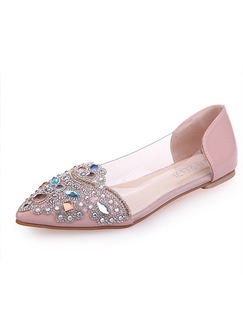 Pink Leather Pointed Toe 1cm Flats