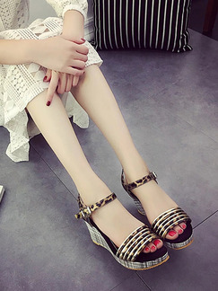 Black and Brown Leather Open Toe Platform Ankle Strap 8cm Wedges