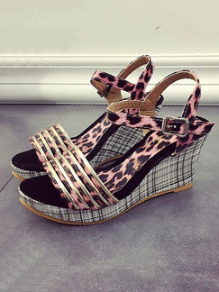 Pink and Black Leather Open Toe Platform Ankle Strap 8cm Wedges