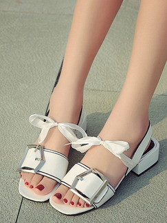 White Leather Open Toe Low Heel Chunky Heel Ankle Strap 4cm Heels