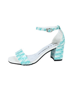 Blue and White Leather Open Toe High Heel Chunky Heel Ankle Strap 6.5cm Heels