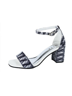 Black and White Leather Open Toe High Heel Chunky Heel Ankle Strap 6.5cm Heels