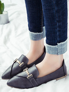 Black Leather Pointed Toe Flats