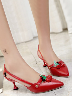 Red Leather Pointed Toe High Heel Stiletto Heel Pumps 6.5cm Heels