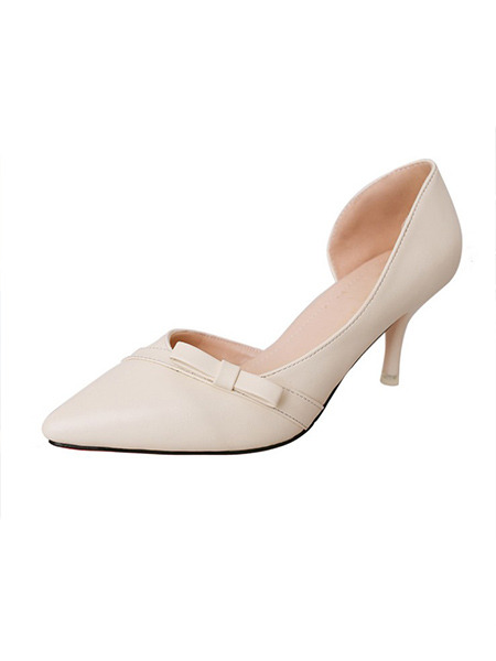 Cream Leather Pointed Toe High Heel Stiletto Heel Pumps 7cm Heels