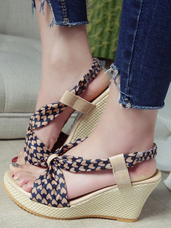 Brown and Beige Canvas Open Toe Platform Ankle Strap 8.5cm Wedges