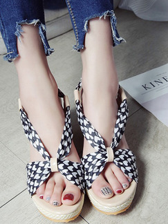 Black White and Beige Canvas Open Toe Platform Ankle Strap 8.5cm Wedges