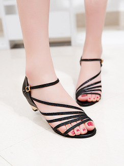 Black Leather Open Toe Ankle Strap 4cm Wedges