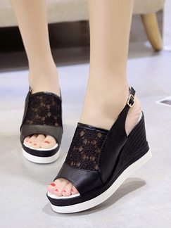 Black Leather Peep Toe Platform Ankle Strap 9.5cm Wedges