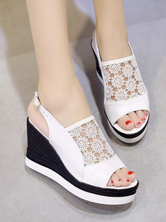 Black and White Leather Peep Toe Platform Ankle Strap 9.5cm Wedges
