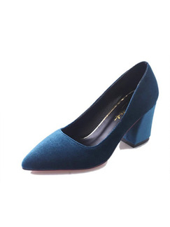 Blue Suede Pointed Toe High Heel Chunky Heel Pumps 7cm Heels