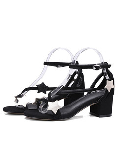Black and White Leather Open Toe High Heel Chunky Heel Ankle Strap 5cm Heels