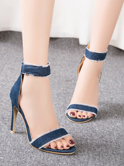 Blue Canvas Open Toe High Heel Stiletto Heel 10cm Heels