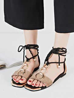Beige and Black Suede Open Toe Strappy Sandals