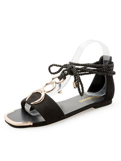Black and Gold Suede Open Toe Strappy Sandals