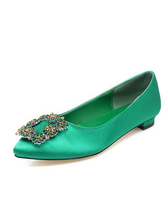 Green Leather Pointed Toe Low Heel Chunky Heel Pumps Heels