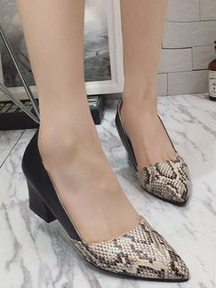 Black White and Brown Leather Pointed Toe High Heel Chunky Heel Pumps 5cm Heels