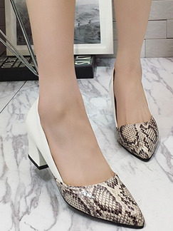 White and Brown Leather Pointed Toe High Heel Chunky Heel Pumps 5cm Heels