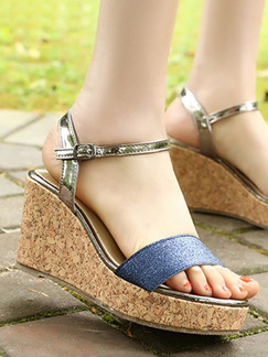 Blue Silver and Beige Leather Open Toe Platform Ankle Strap 8cm Wedges