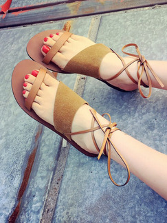 Apricot Suede Open Toe Strappy Sandals