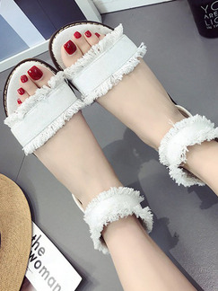 White Canvas Open Toe Ankle Strap Sandals