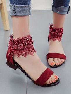 Red Leather Open Toe Low Heel Chunky Heel Heels