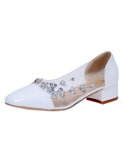White Patent Leather Pointed Toe Low Heel Chunky Heel 4cm Heels