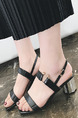 Black Leather Open Toe High Heel Chunky Heel Ankle Strap 6cm Heels