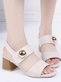 White and Beige Leather Open Toe High Heel Chunky Heel Ankle Strap 6cm Heels