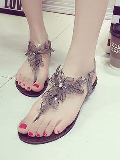 Silver Leather Open Toe Ankle Strap Sandals