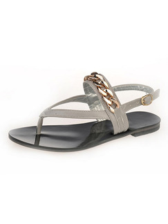 Grey and Gold Leather Open Toe Ankle Strap Sandals