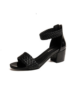 Black Leather Open Toe High Heel Chunky Heel Ankle Strap 5cm Heels