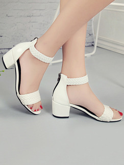 White Leather Open Toe High Heel Chunky Heel Ankle Strap 5cm Heels