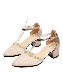 White and Silver Leather Pointed Toe High Heel Chunky Heel Ankle Strap 5cm Heels