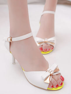 White and Yellow Leather Peep Toe High Heel Stiletto Heel Ankle Strap 7.5cm Heels
