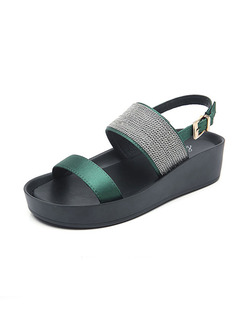 Black and Green Leather Open Toe Platform Ankle Strap Sandals