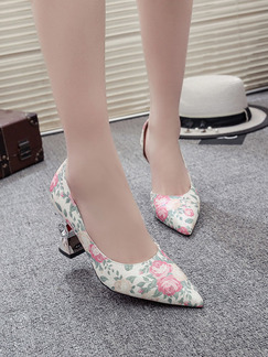 Pink Colorful Leather Pointed Toe High Heel Chunky Heel 8cm Heels