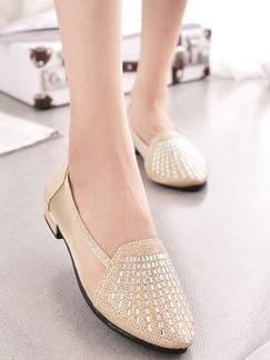 Gold Leather Pointed Toe Low Heel Chunky Heel Heels